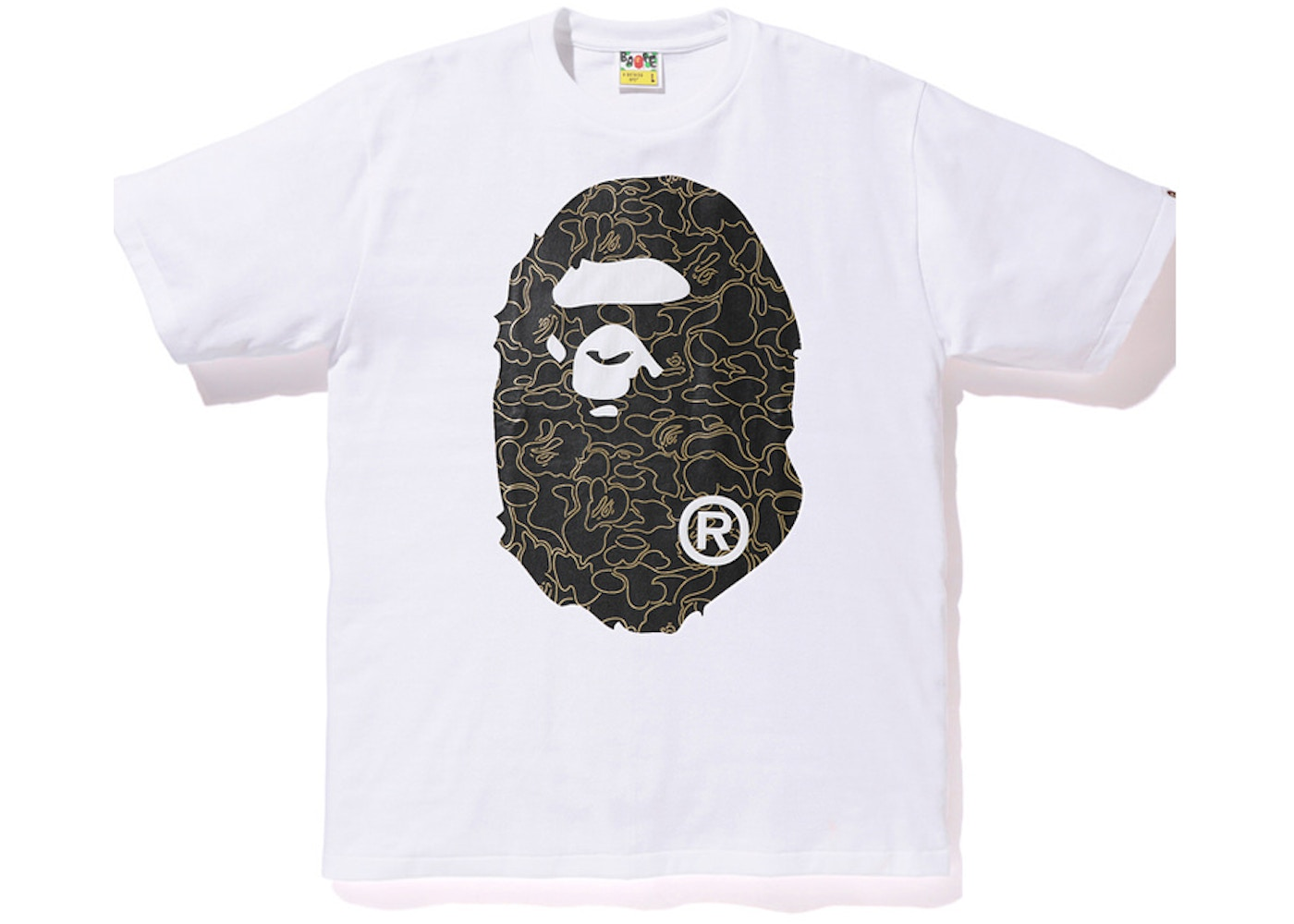 d0f02200 Sell. or Ask. Size: XL. View All Bids. BAPE Foil Neon Camo Big Ape Head Tee  White/Gold
