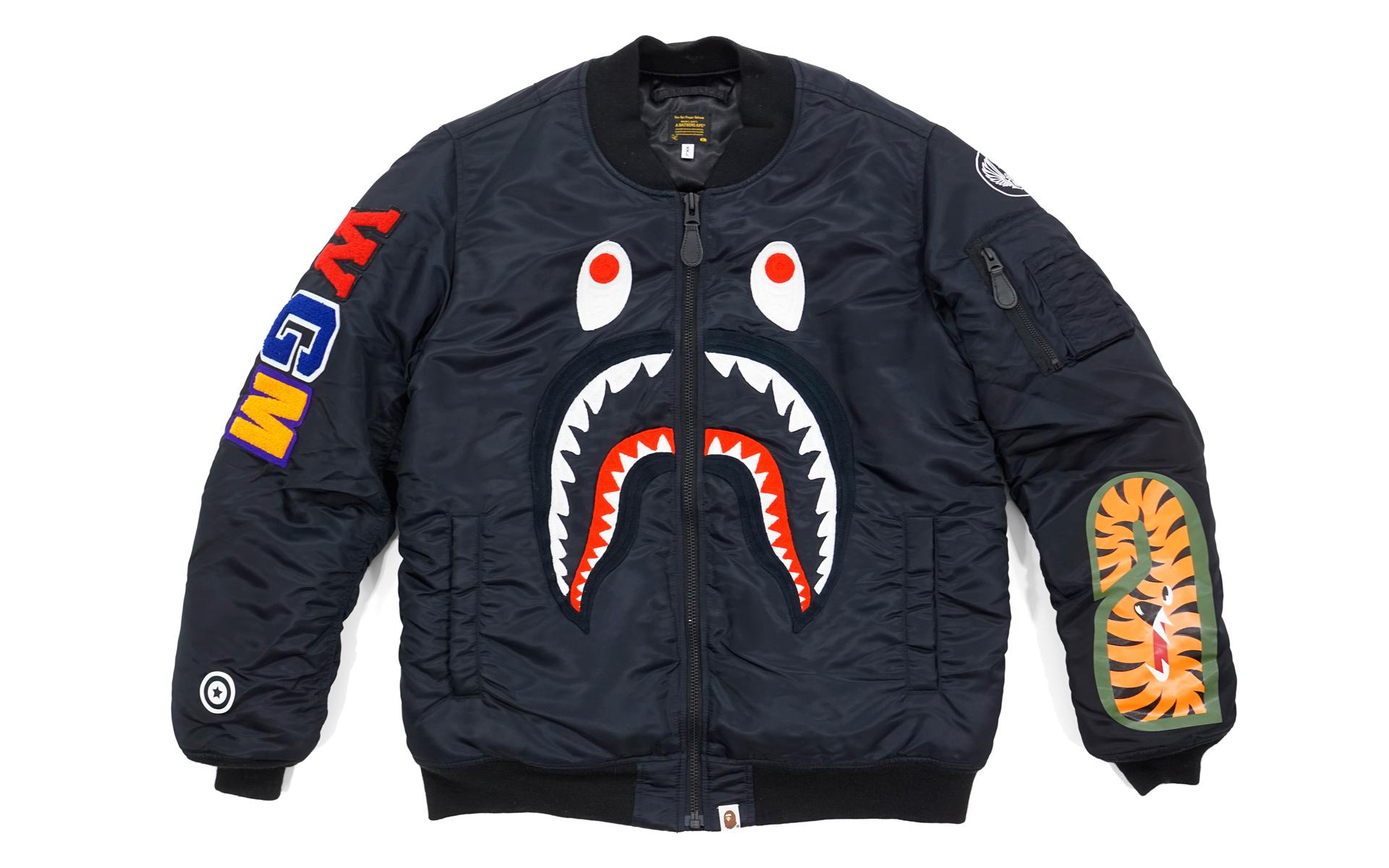 Bape Ma1 Noir Survêtement Veste De Bomber 57pzxgwq Devant Requin TR14q0w
