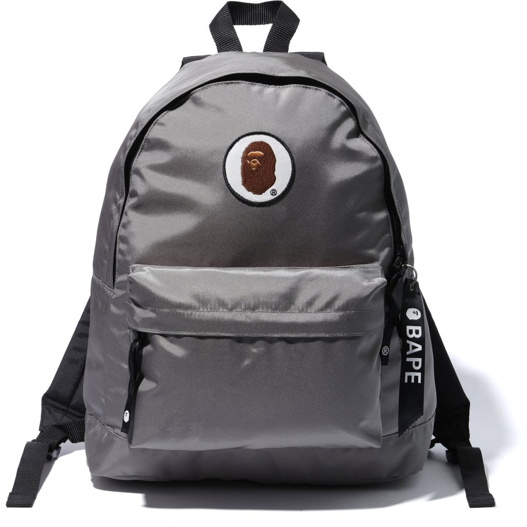 BAPE Happy New Year Ape Head Patch Backpack Grey