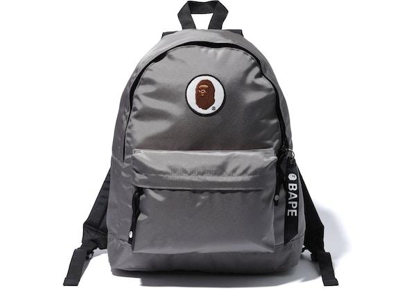 ac604d9fa69a52 BAPE Happy New Year Ape Head Patch Backpack Grey