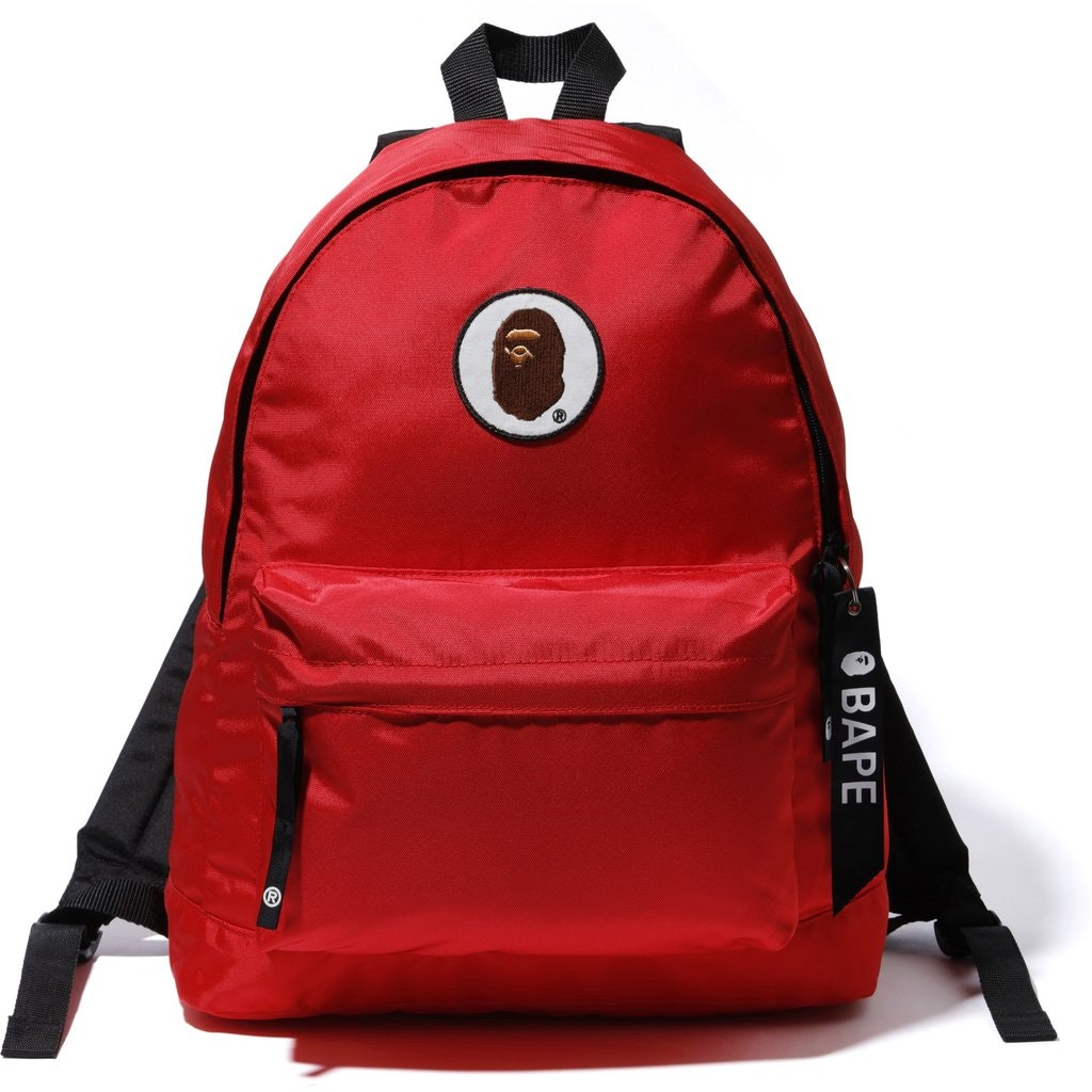 BAPE Happy New Year Ape Head Patch Backpack Red