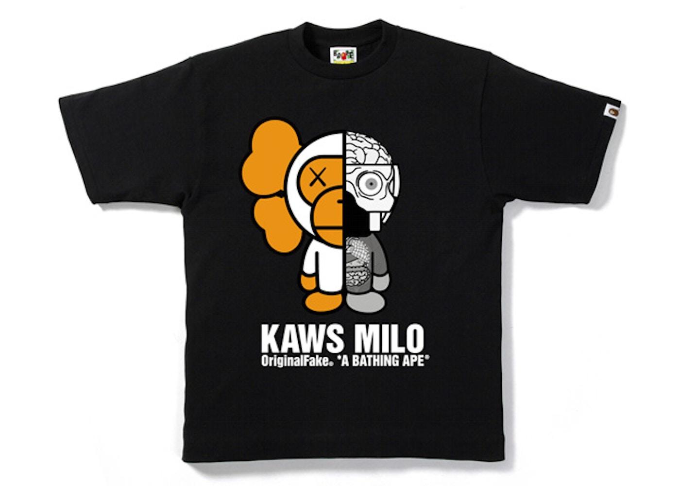 Bape X Kaws >> Bape X Originalfake Kaws Companion Milo Tee Black White Ss10