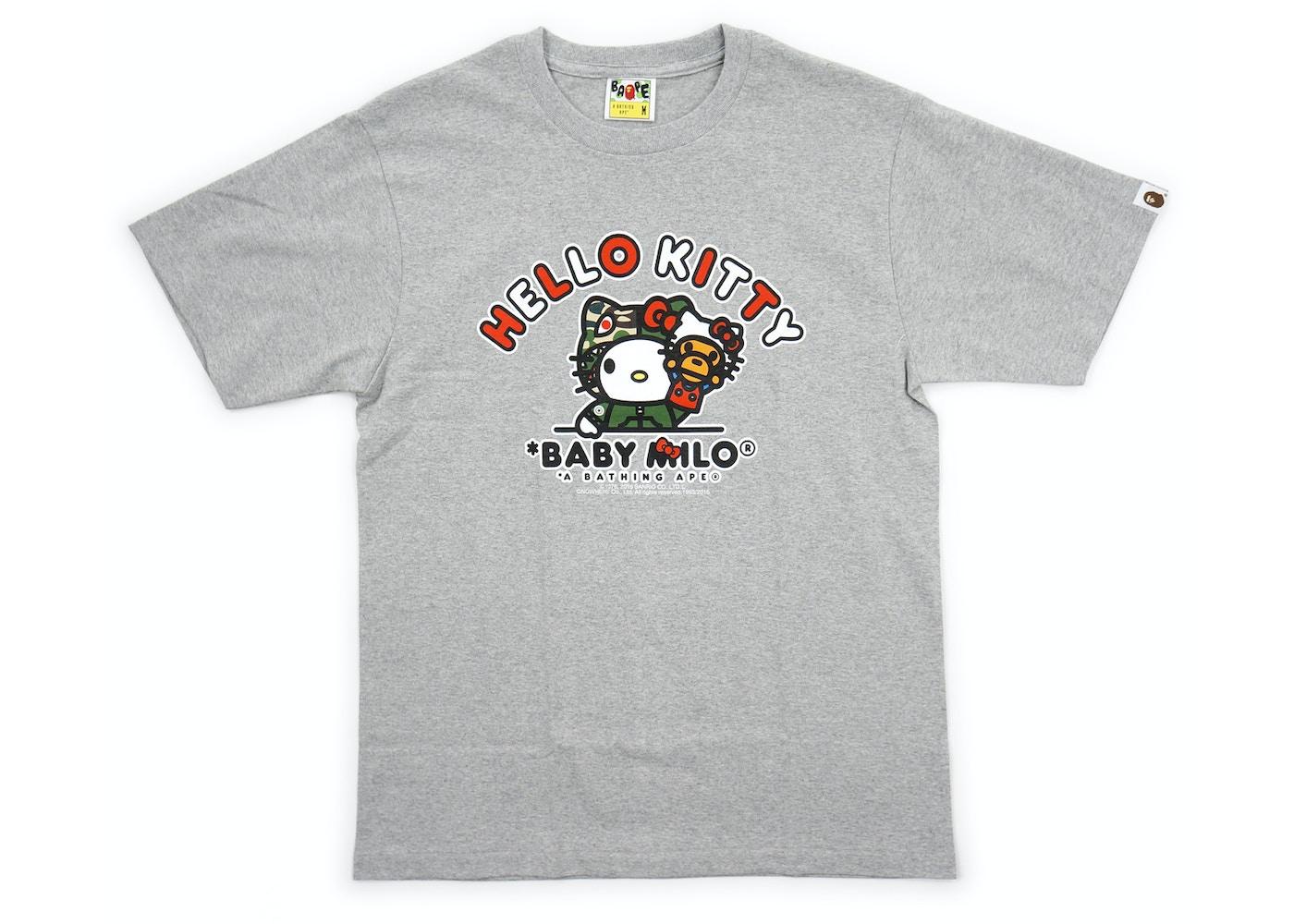 63442104a BAPE Sanrio Hello Kitty Milo Puppet Tee Grey -