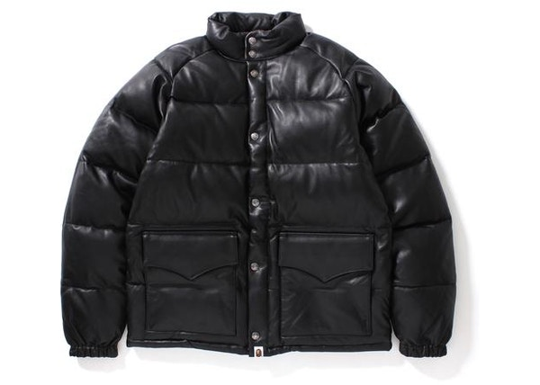 21fd0a2a BAPE Leather Classic Down Jacket Jacket Black