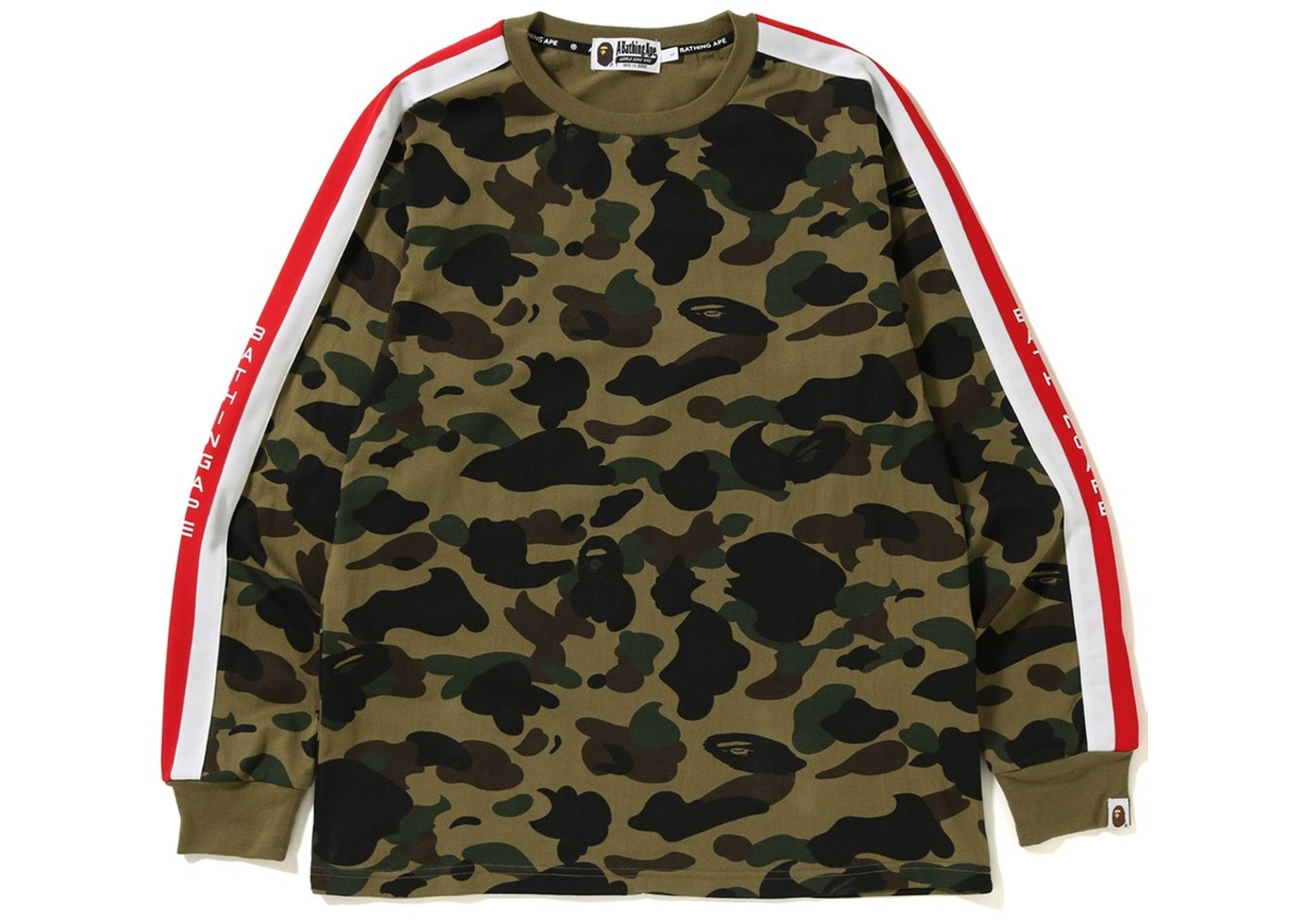 7006755f BAPE Logo Tape 1st Camo Long Sleeve Tee Green - FW18