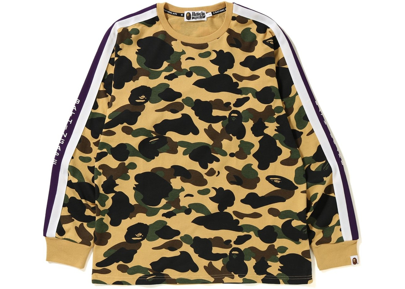 fe4dc535 BAPE Logo Tape 1st Camo Long Sleeve Tee Yellow - FW18