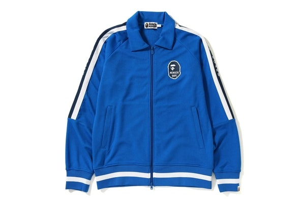 Bape Logo Tape Jersey Track Top Blue
