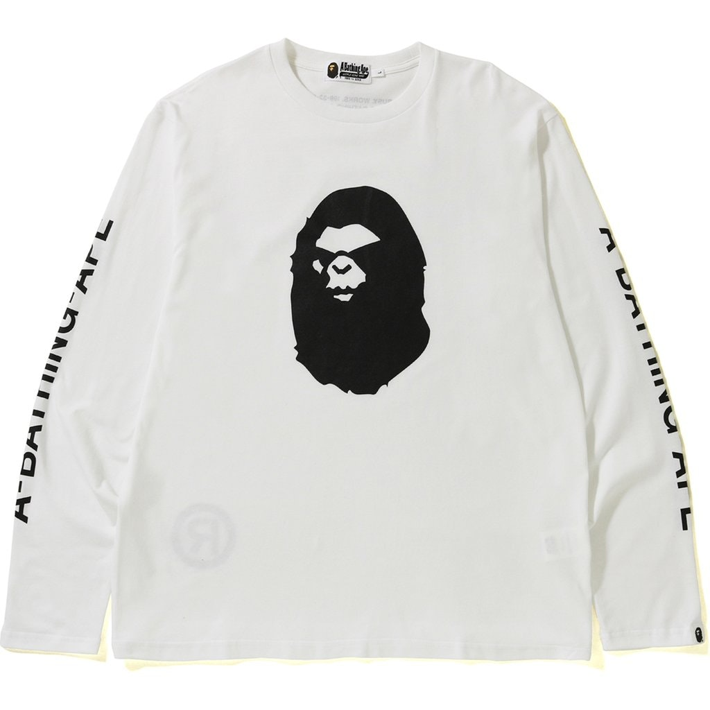 BAPE Mad Face Wide LS Tee White