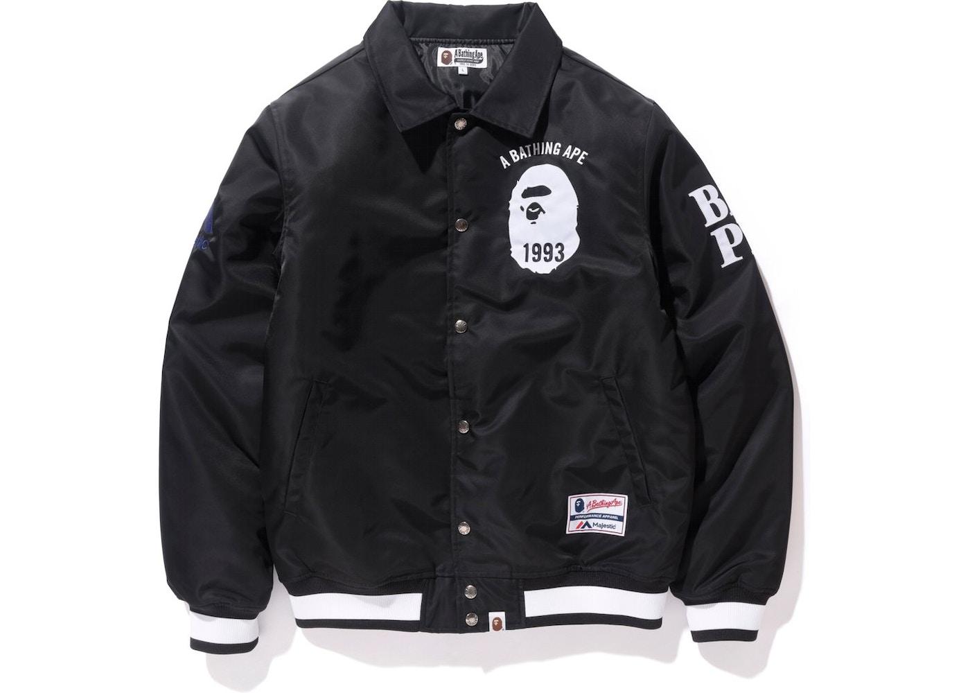 BAPE Majestic Satin Varsity Jacket Jacket Black