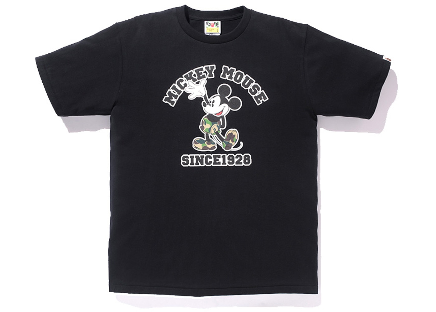 59775225 BAPE X Disney Mickey Mouse College Logo Tee China Exclusive Black -