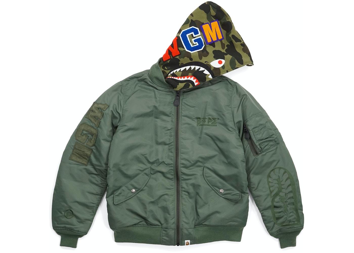 BAPE Military Rock Star 1st Camo Convertible Shark MA1 Bomber Jacket ... 9dad029424