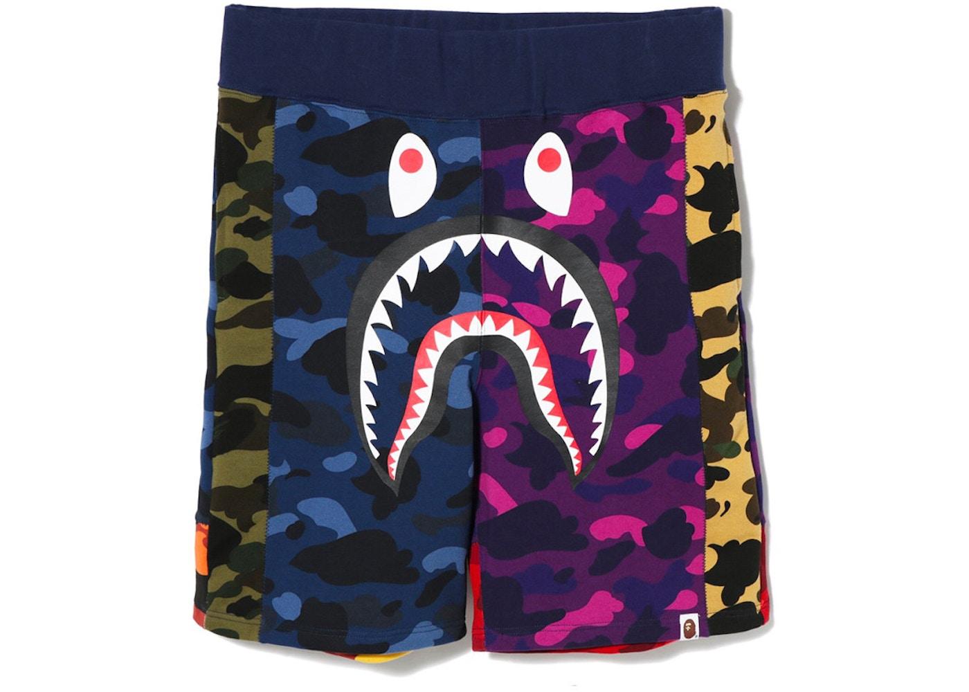 0e6087d65ddb BAPE Mix Camo Shark Shorts Multi - FW18