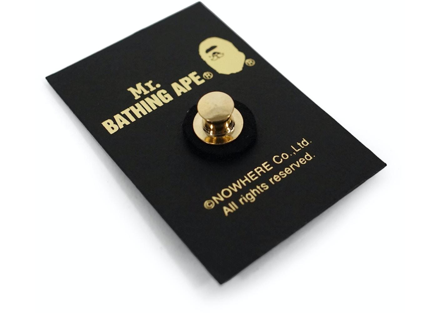 a3e284c0 BAPE Mr. Bathing Ape Apehead Pin Gold -