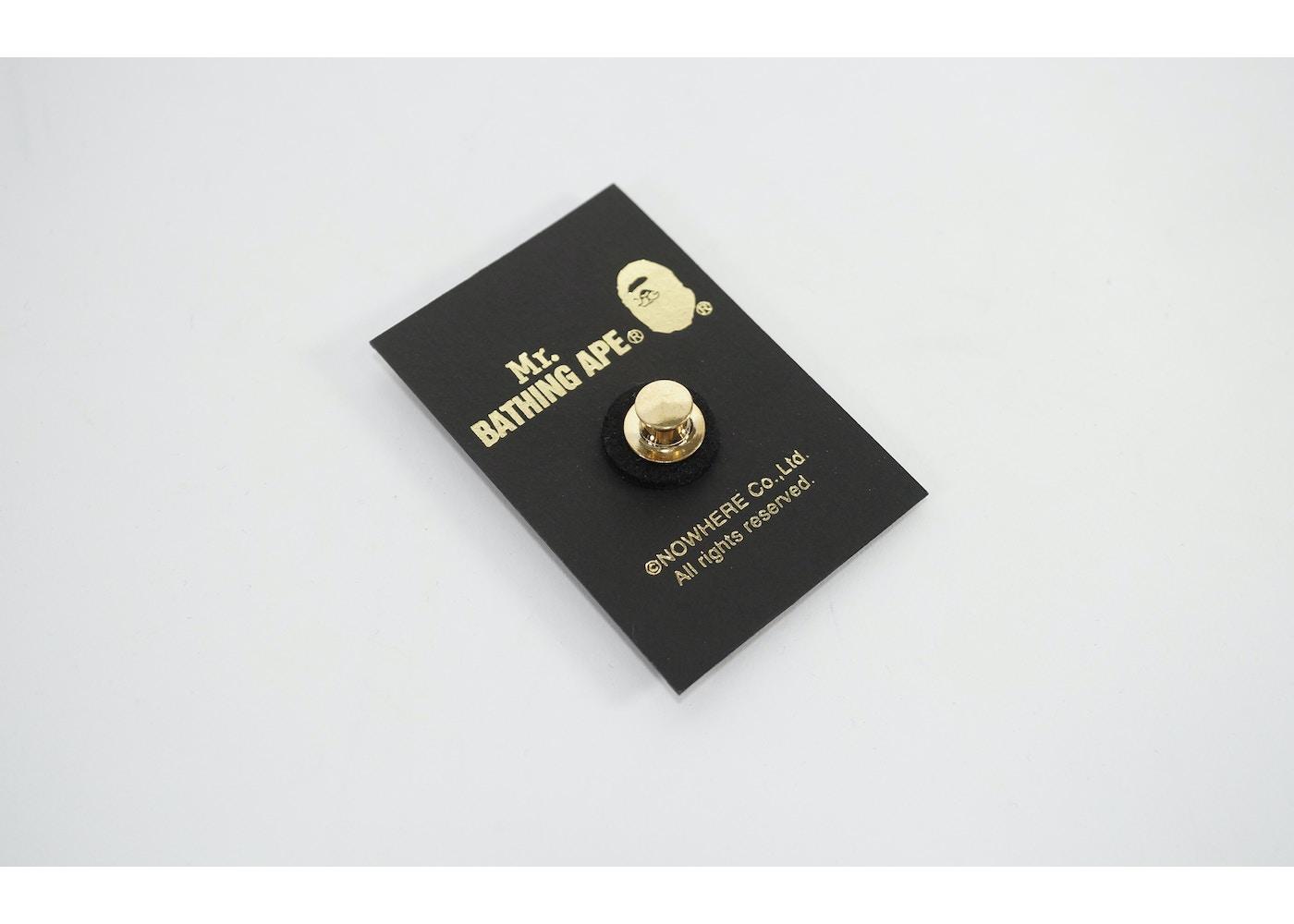 33ae7af6 BAPE Mr. Bathing Ape Gold Apehead Lapel Pin Gold -
