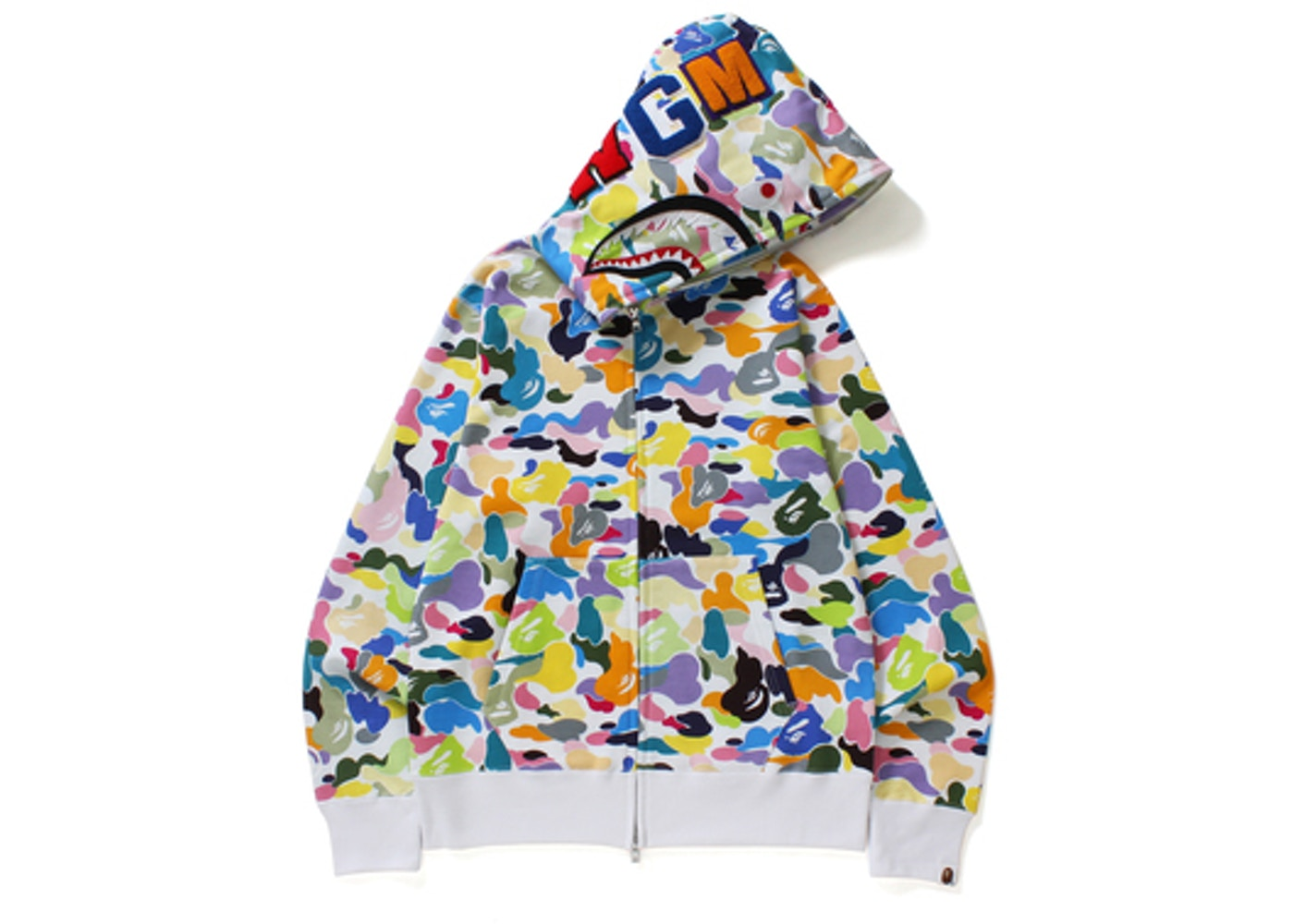 108ba85a BAPE Multi Camo Shark Full Zip Hoodie White -