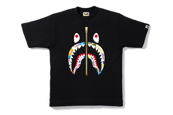 BAPE Multi Camo Shark Tee Black