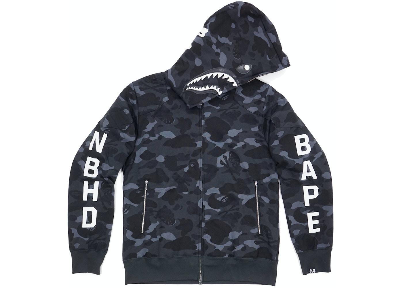 2c00eac0 BAPE NBHD Camo Shark Hoodie Black -