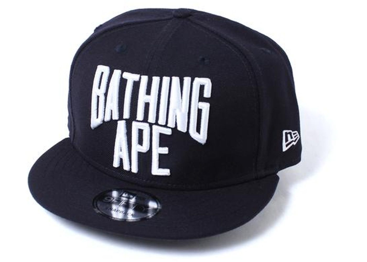 14c8b6f7bf3 BAPE NYC Logo New Era Snap Back Cap Cap Navy -