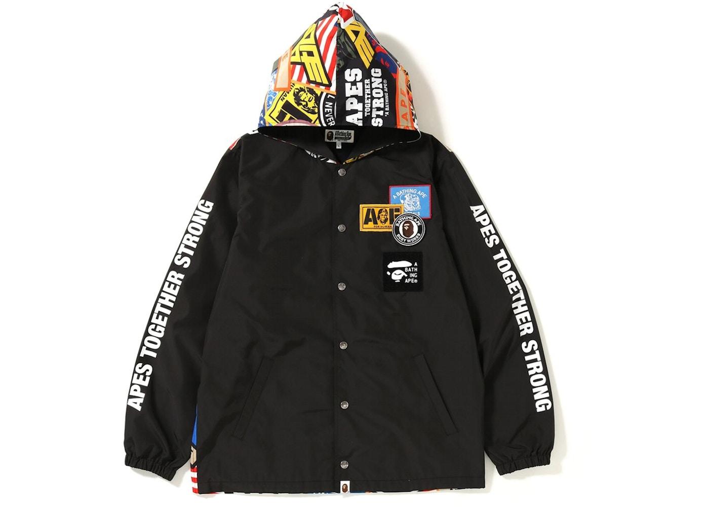 Bape Patched Hoodie Coach Jacket Black Fw18