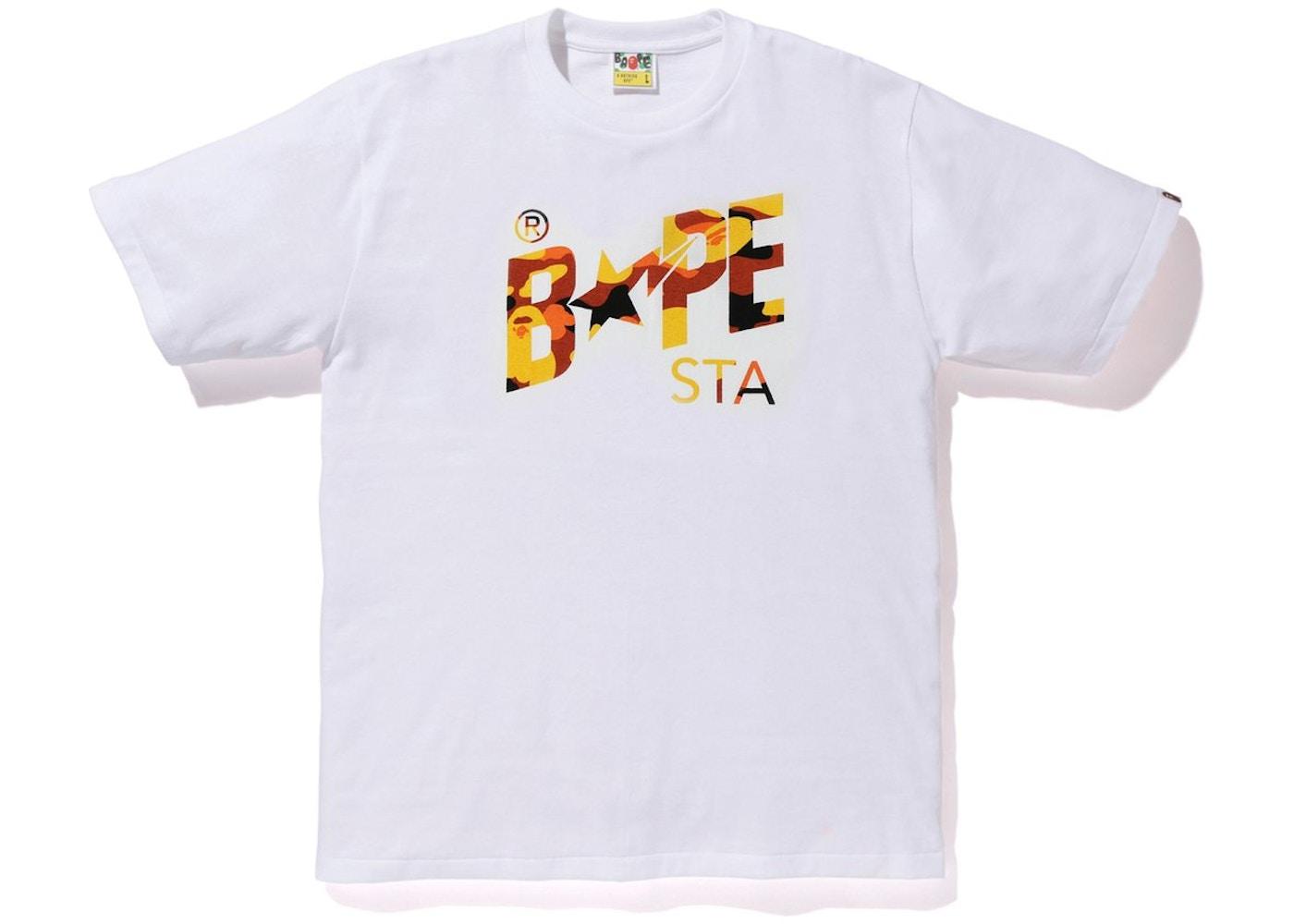 a07ab5d0d1960 BAPE Pigment 1st Camo Bapesta Tee White/Orange. Pigment 1st Camo Bapesta