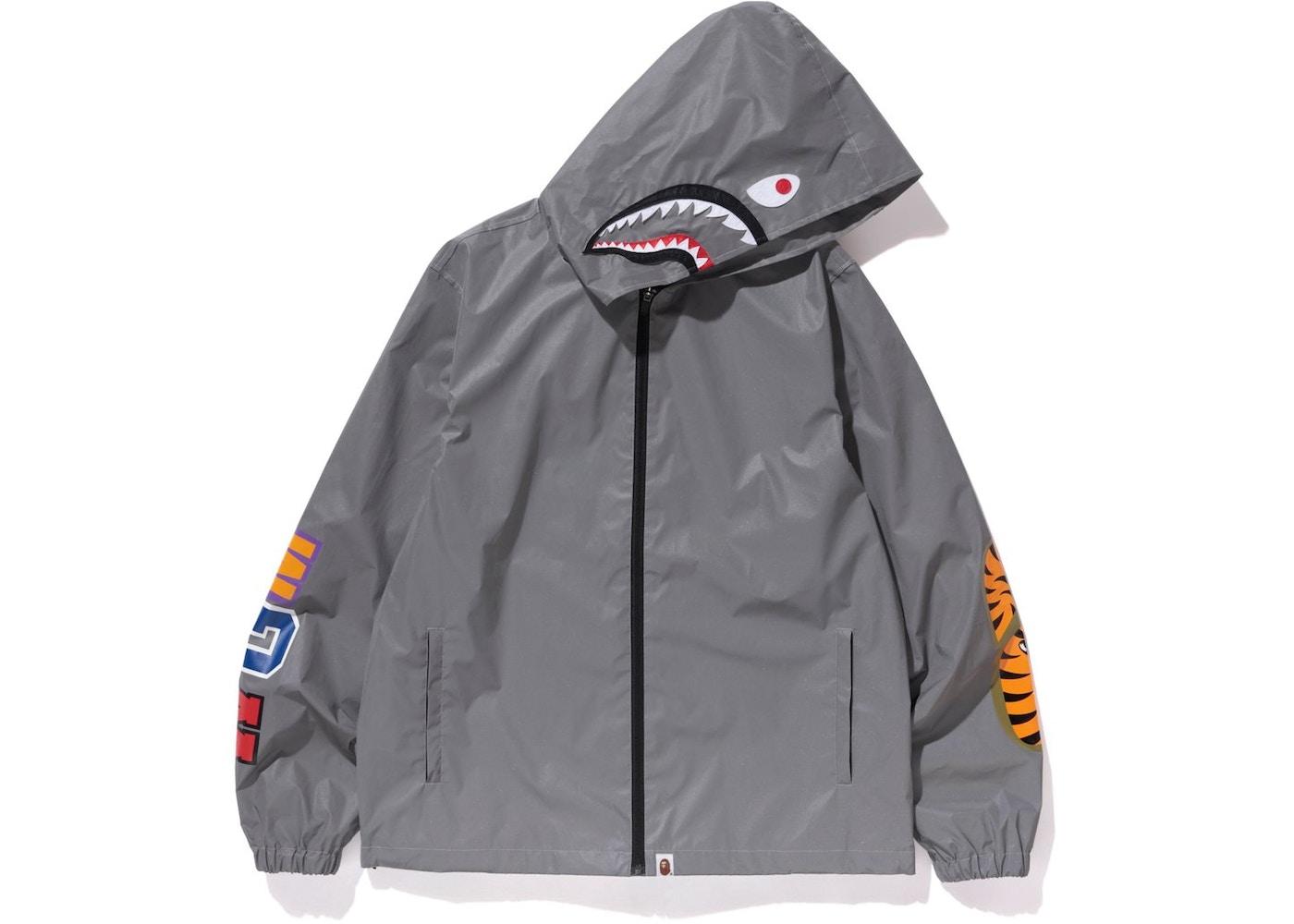 bda0d26c41a1 BAPE Reflector Shark Hoodie Jacket Silver -