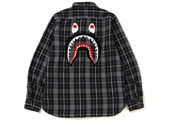 a0cd0006f3fb BAPE Shark Flannel Check Shirt (FW18) Black