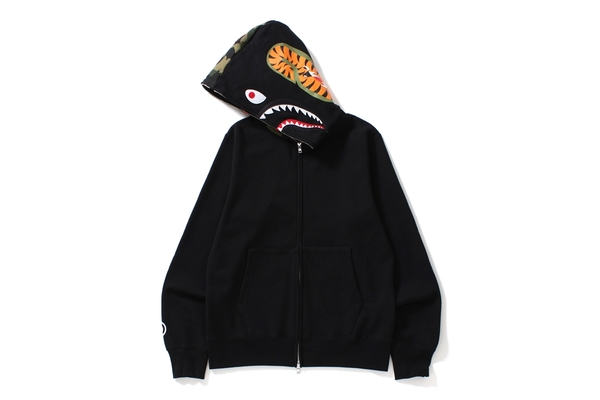 BAPE Shark Full Zip Hoodie Camo Sleeve Black