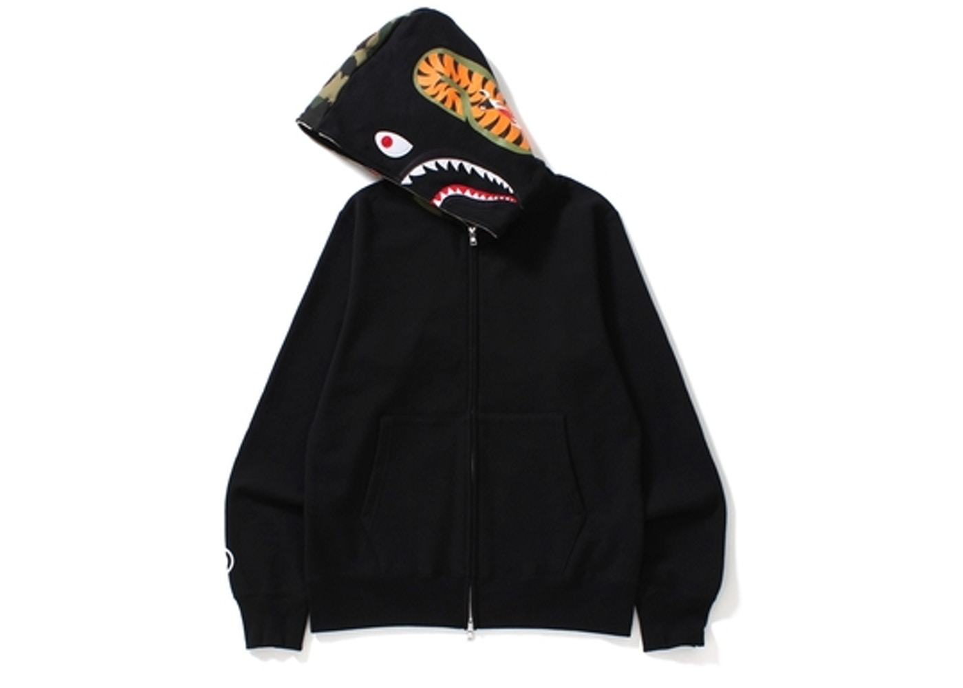 1000dde1d433 BAPE Shark Full Zip Hoodie Camo Hood Black -