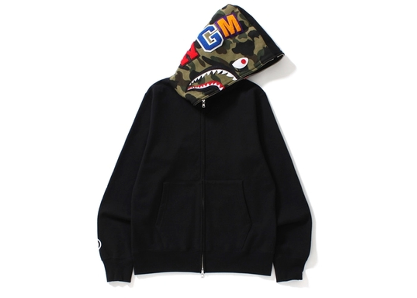 11436d96 BAPE Shark Full Zip Hoodie Camo Hood Black -