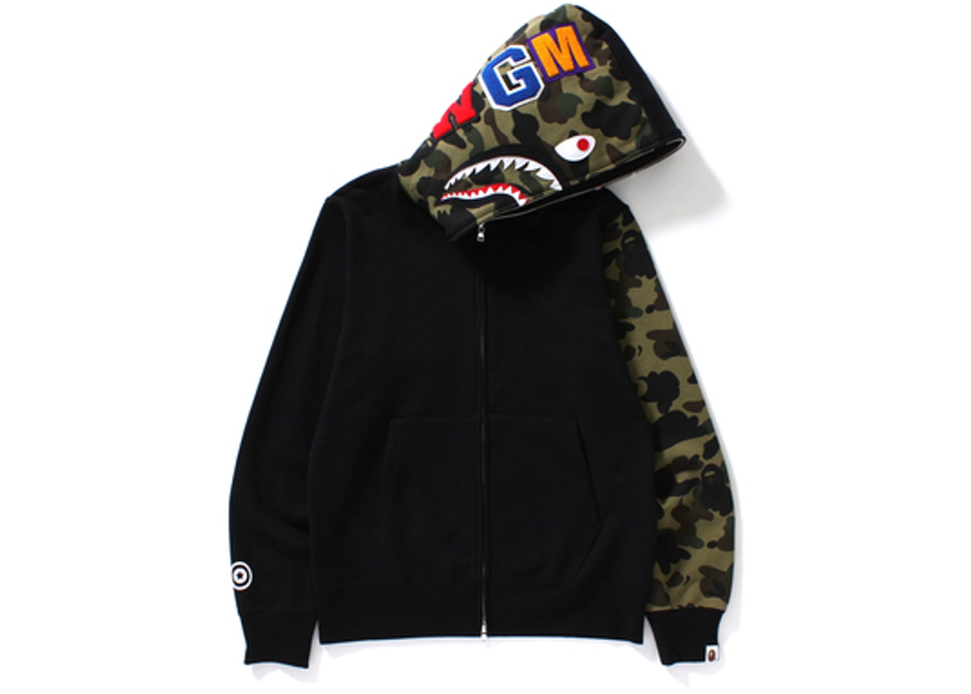 7c1c6ec4 BAPE Shark Full Zip Hoodie Camo Sleeve Black -