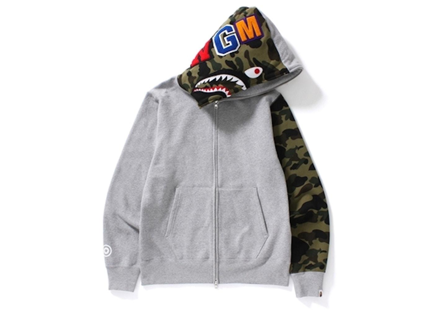 c64905e9 BAPE Shark Full Zip Hoodie Gray -