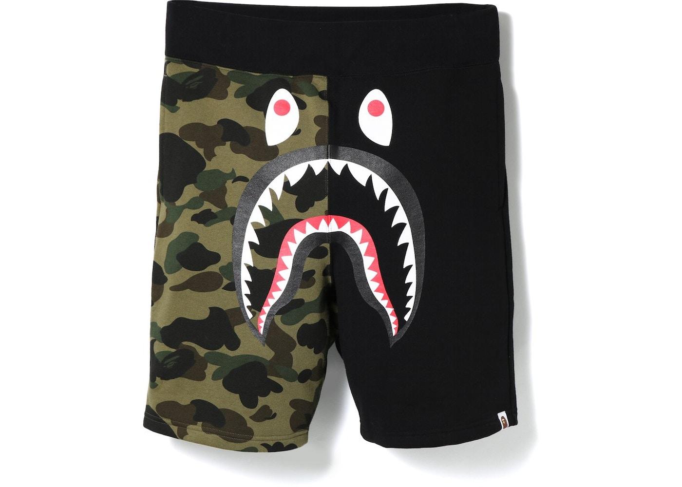 cdc6451bc6 BAPE Shark Sweat Shorts Black. Shark Sweat