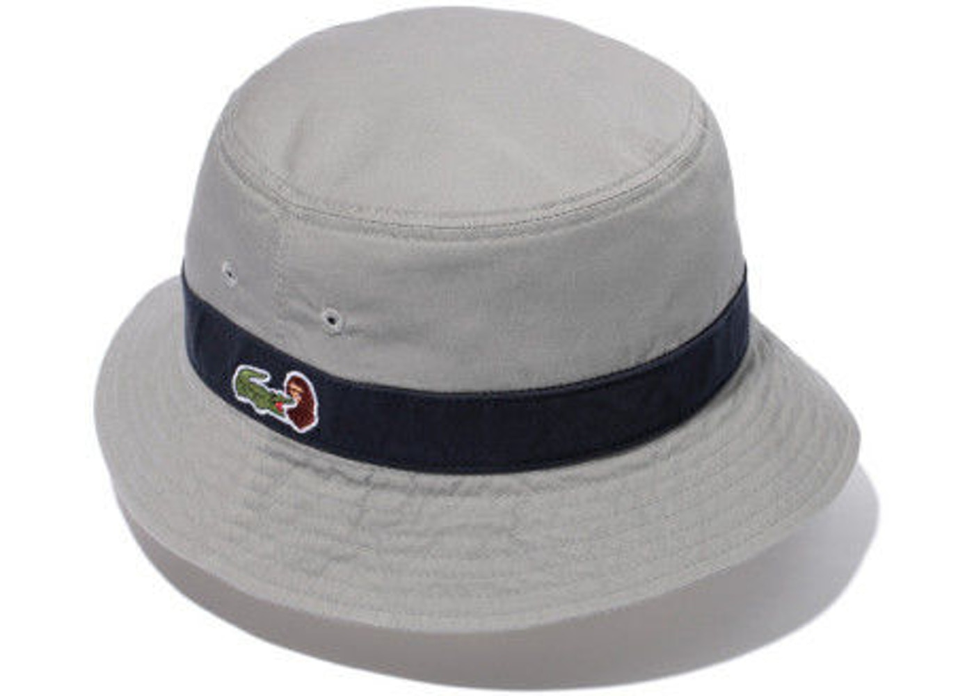 c93e31a39bb4 BAPE X Lacoste Side Logo Bucket Crusher Hat Gray Navy - SS15