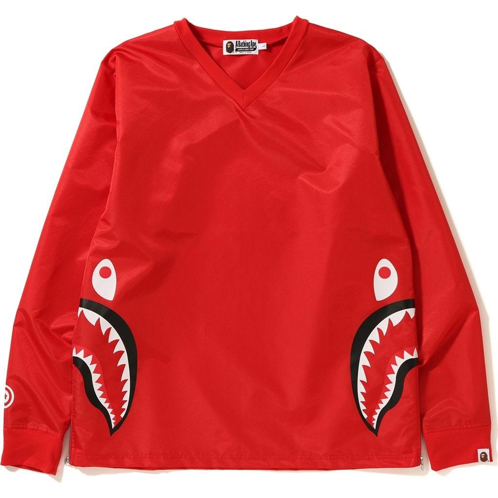 Bape Side Zip Shark Windbreaker Red