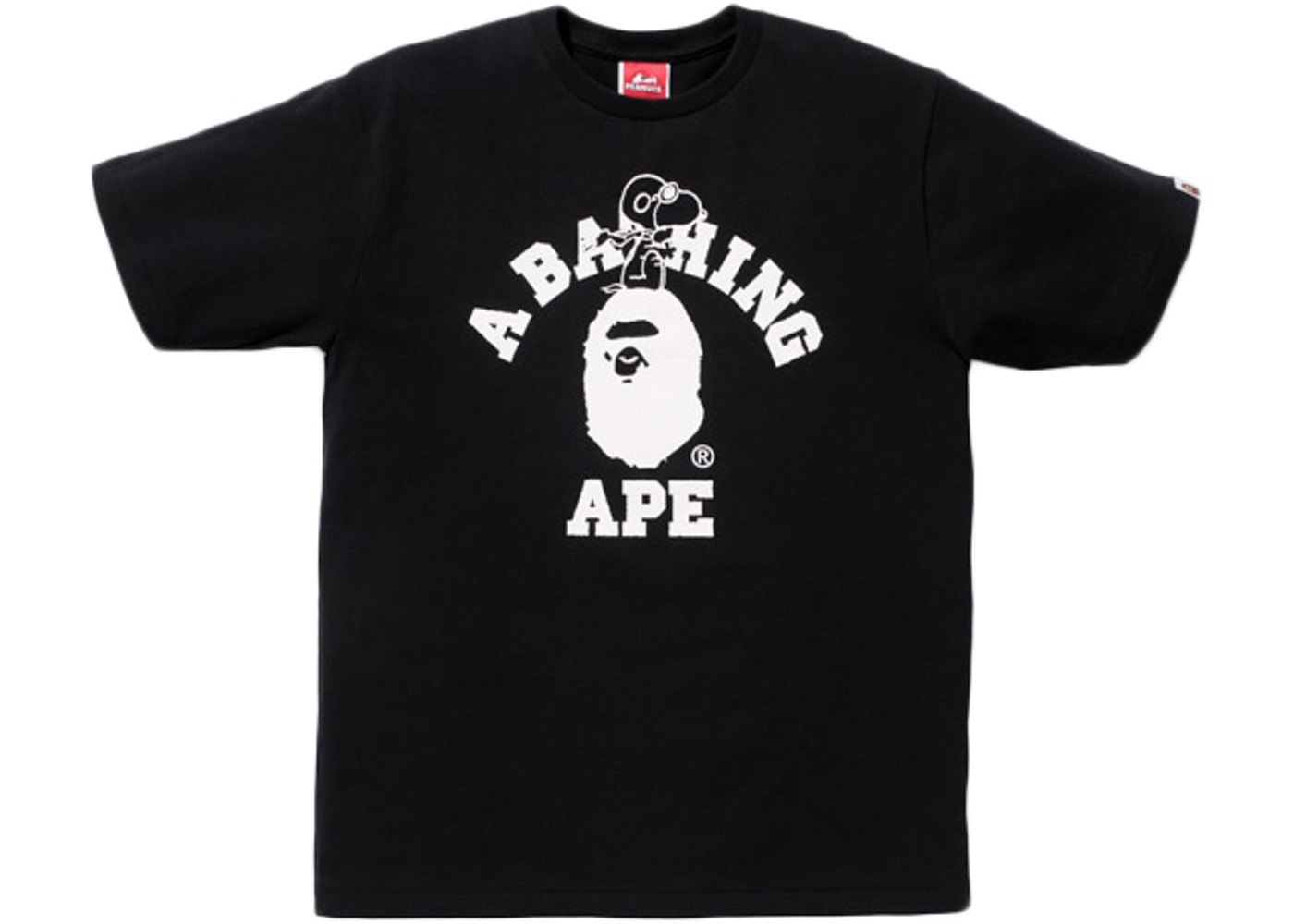 5d668827 BAPE X Peanuts Snoopy Flying Ace College Logo Tee Black - SS14