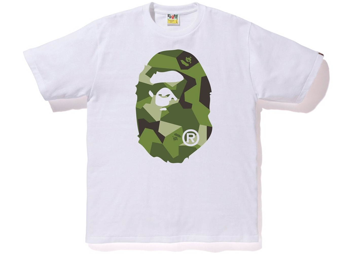 0010bd57 BAPE Splinter Camo Big Ape Head Tee White/Olive - FW18
