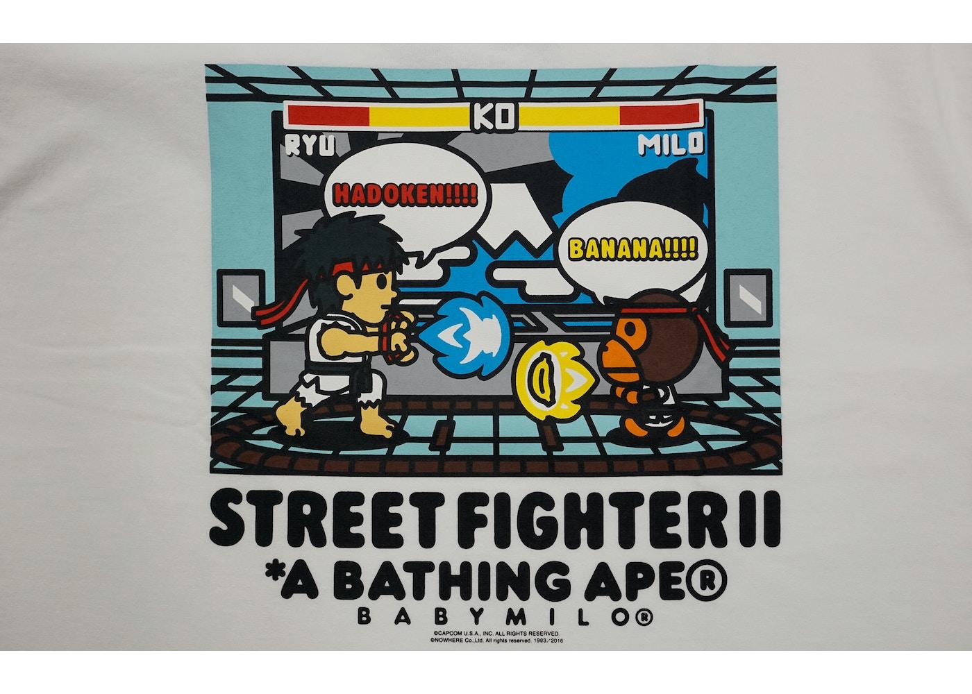 BAPE Capcom Street Fighter II Ryu Vs Milo Tee White -
