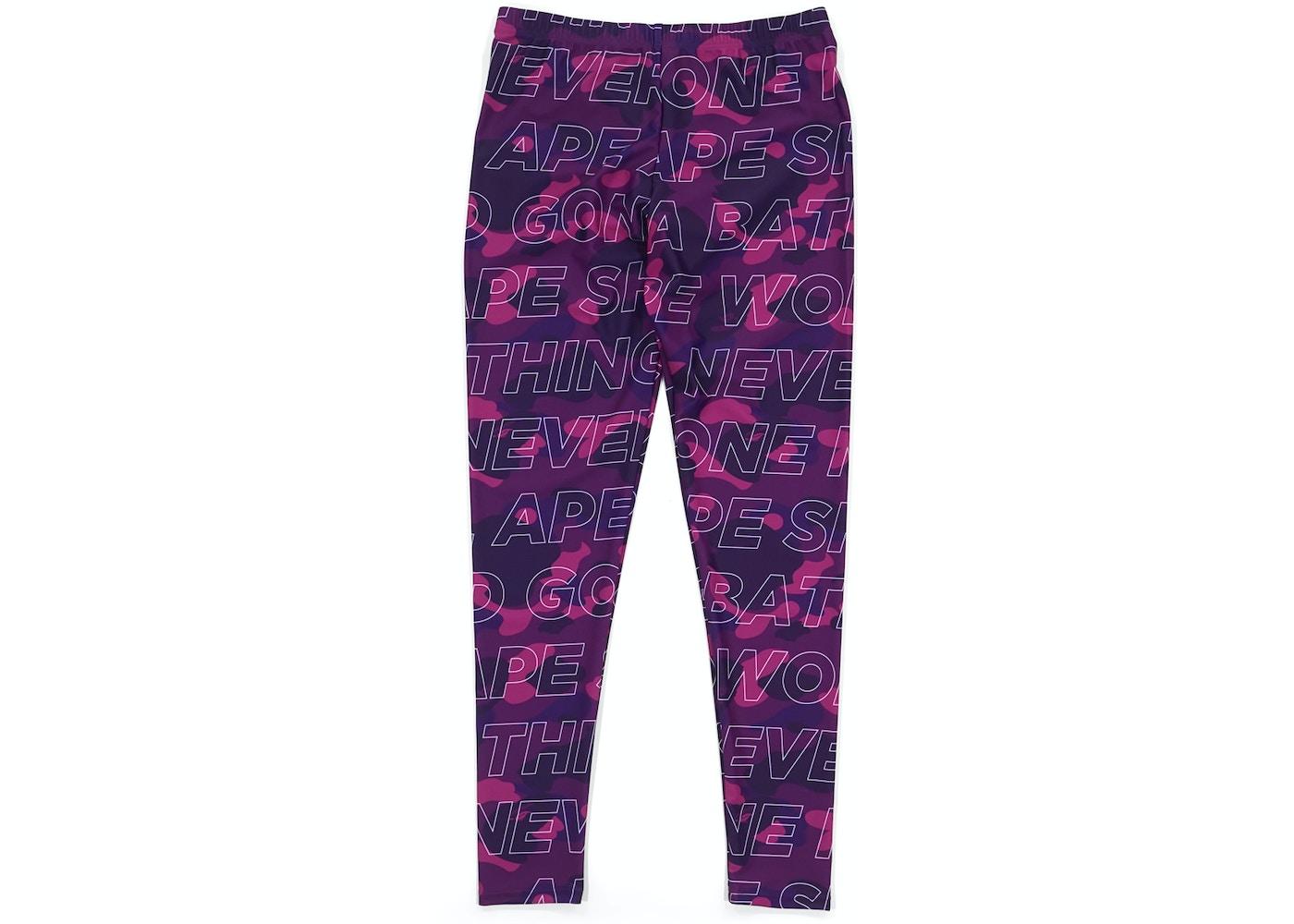 d44d4bc9f5 BAPE Text Color Camo Leggings (Ladies) Purple -