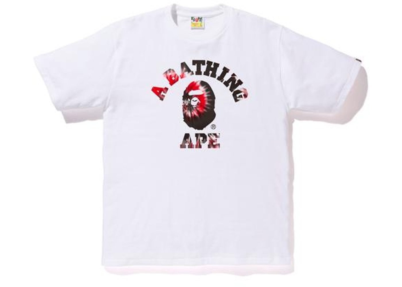 a7861c86 BAPE Tie Dye College Tee White/Red -