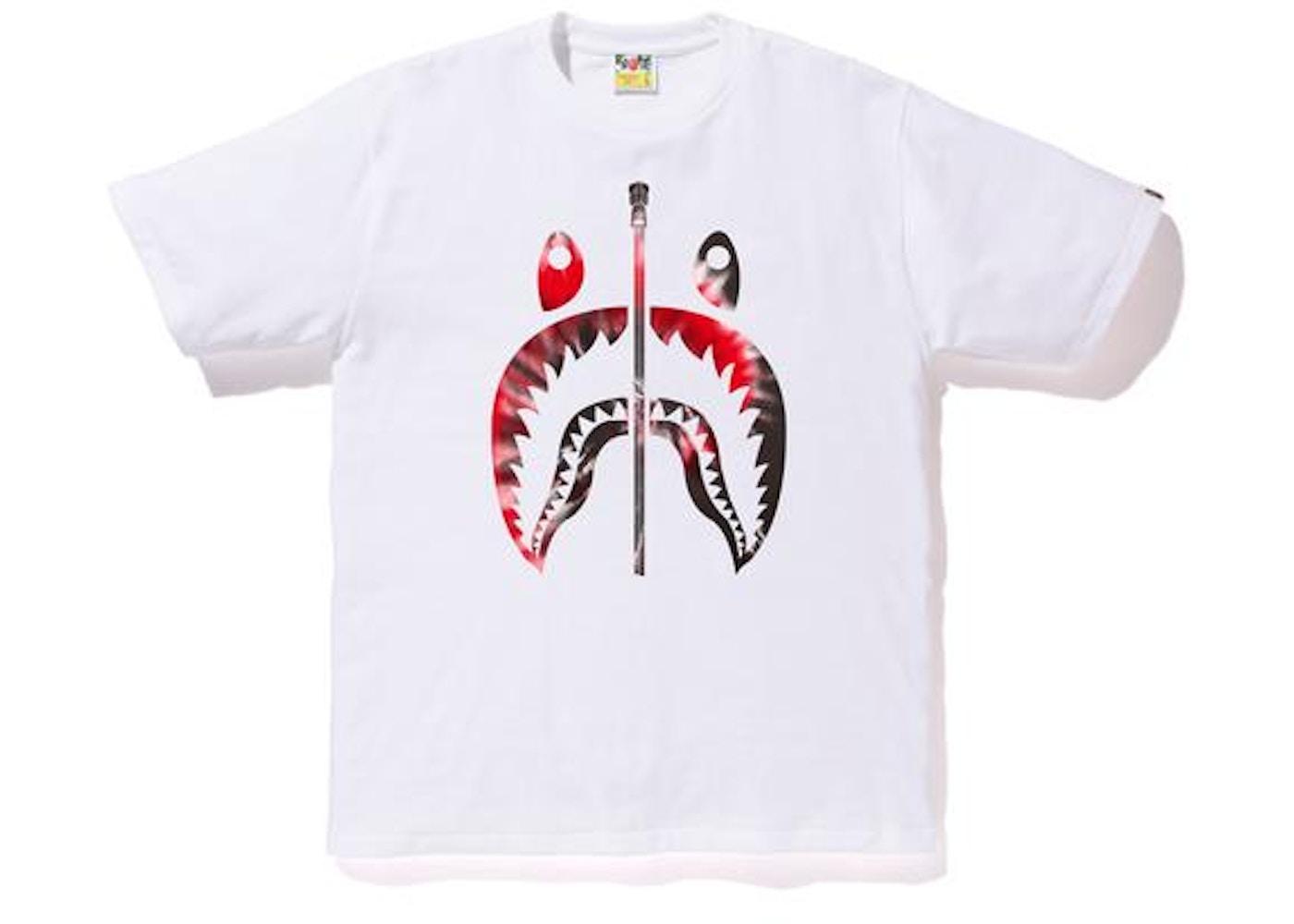 48749d1ccb6f BAPE Tie Dye Shark Tee White Red -