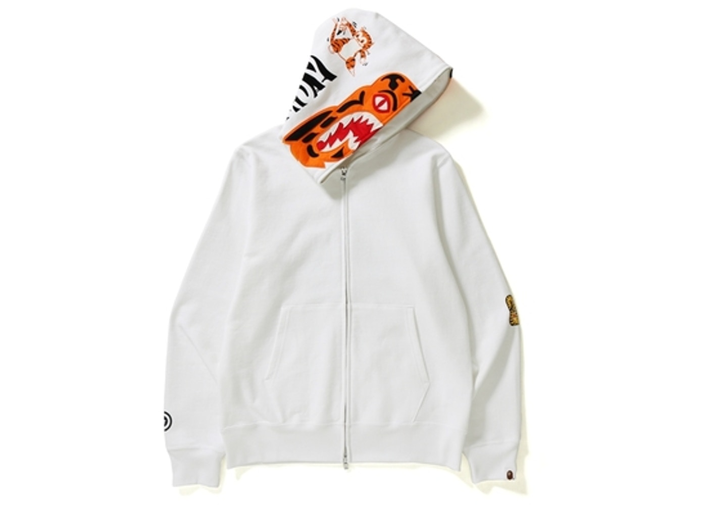 d4148796 BAPE Tiger Full Zip Color Embroidery Hoodie White - SS18