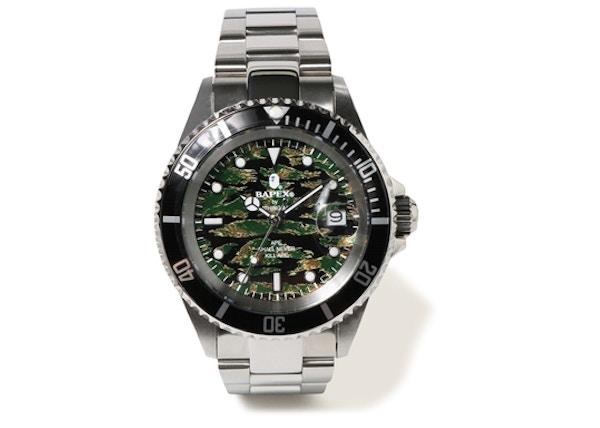 5b18831a721 BAPE Type 1 Tiger Camo Bapex Watch Tiger Camo/Silver -