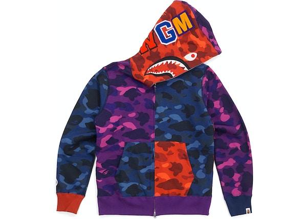 d5593df7 BAPE Ultimate Crazy Color Camo Shark Hoodie Red/Blue/Purple