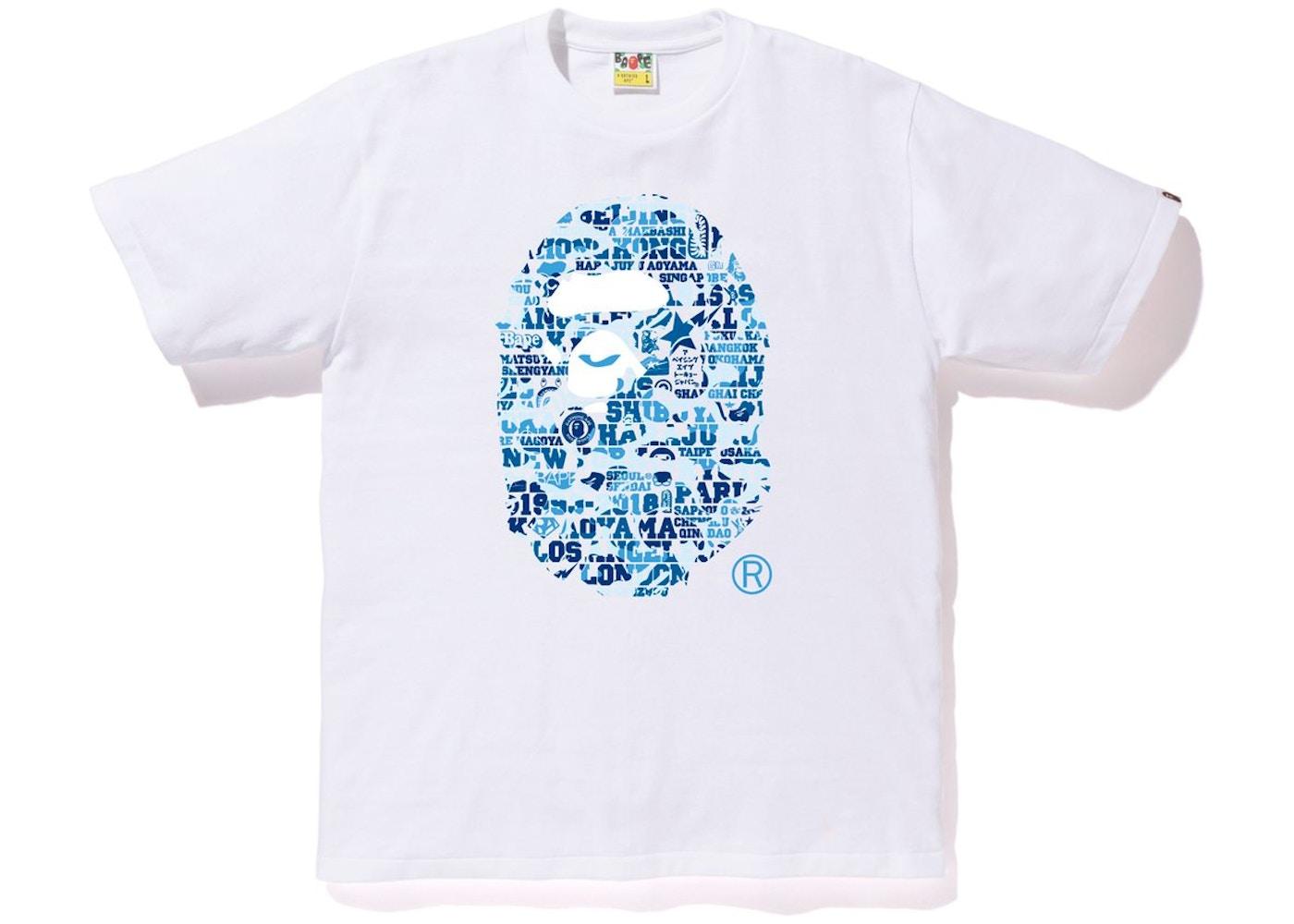 1ac6a2379 BAPE XXV Cities Camo Ape Head Tee White/Blue - SS18