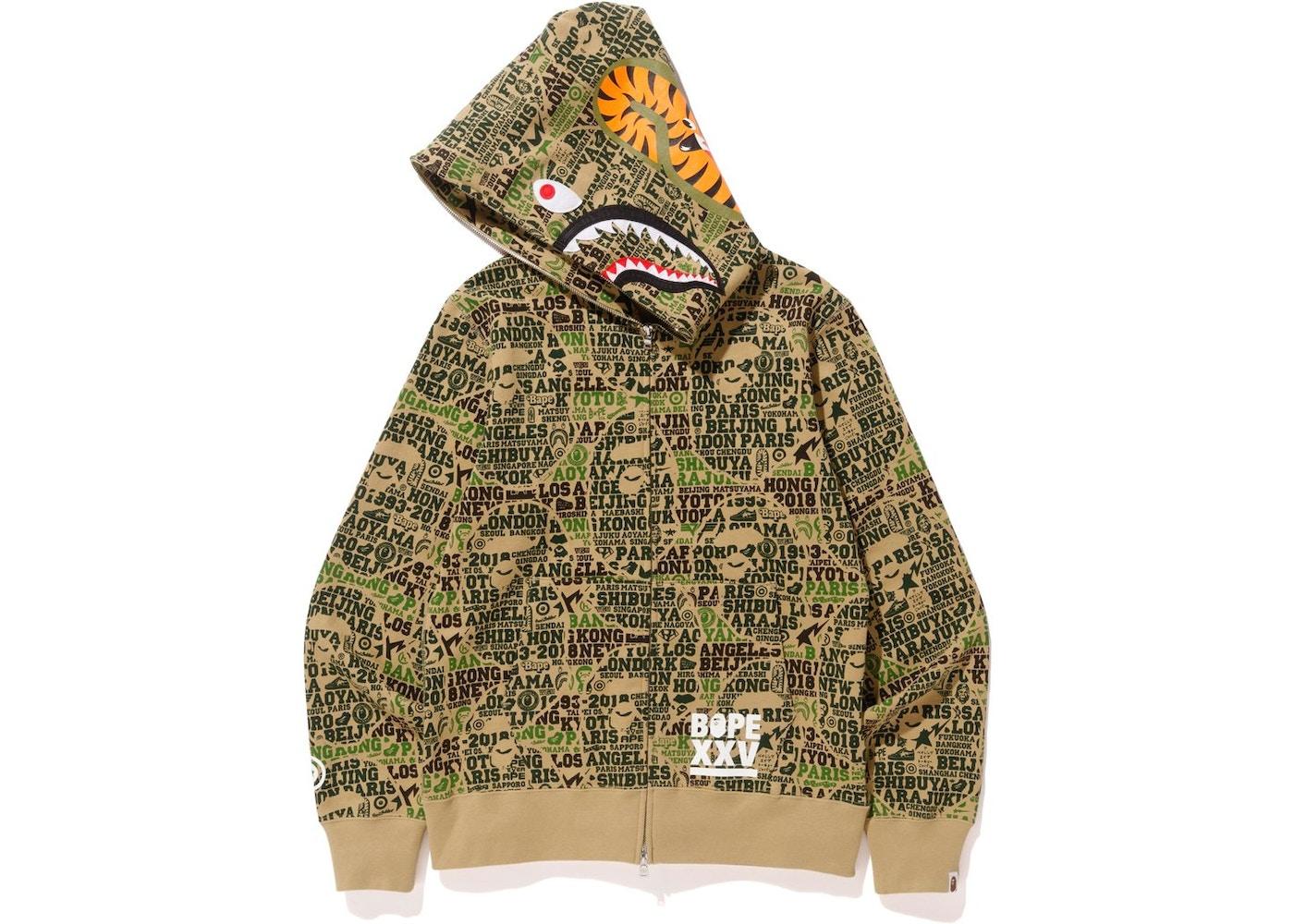 7eaec93491d0d BAPE XXV Cities Camo Shark Full Zip Hoodie Green - SS18