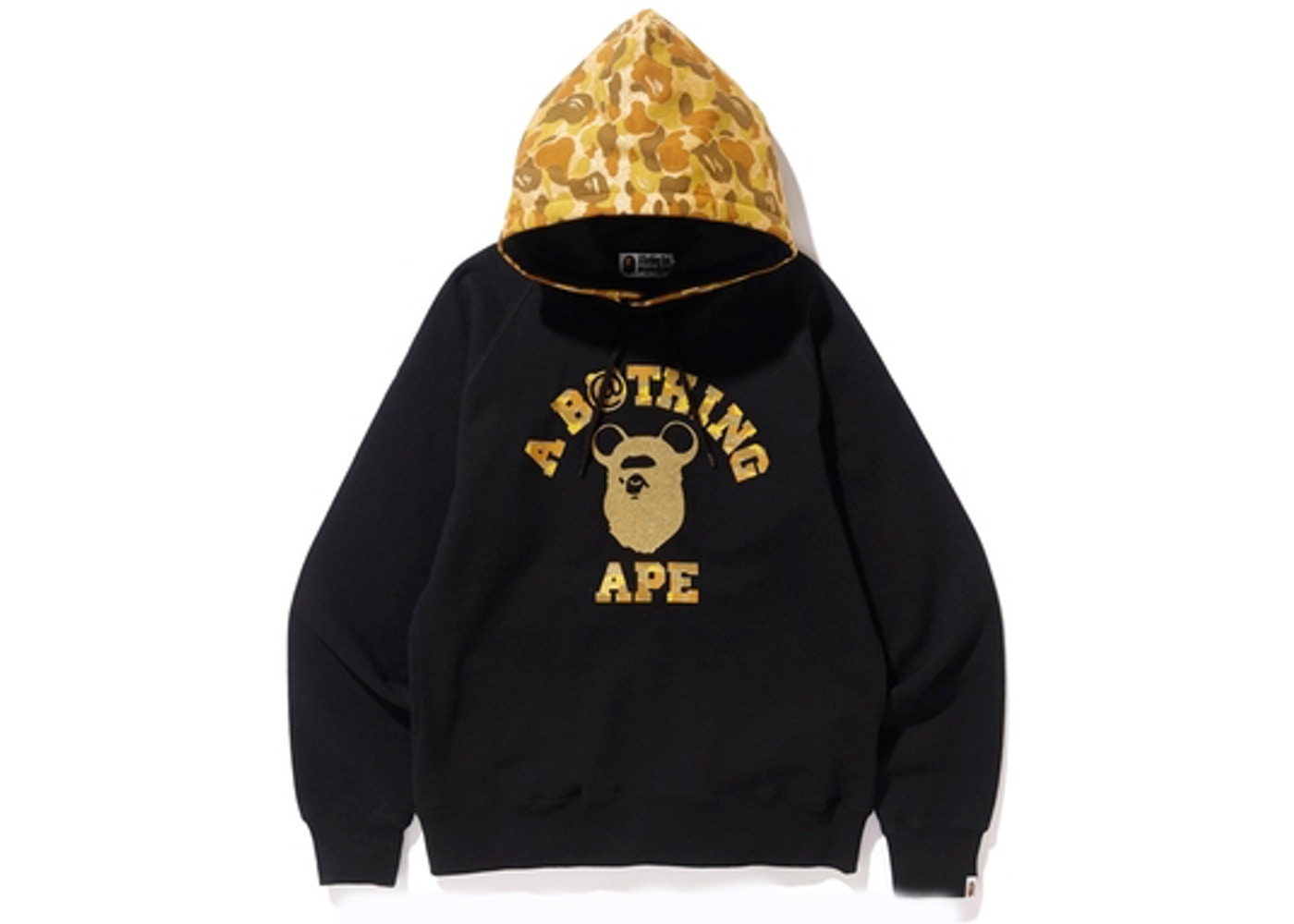 c61018b9 BAPE x Medicom Toy Ape Head Bear College Pullover Hoodie Black/Gold ...