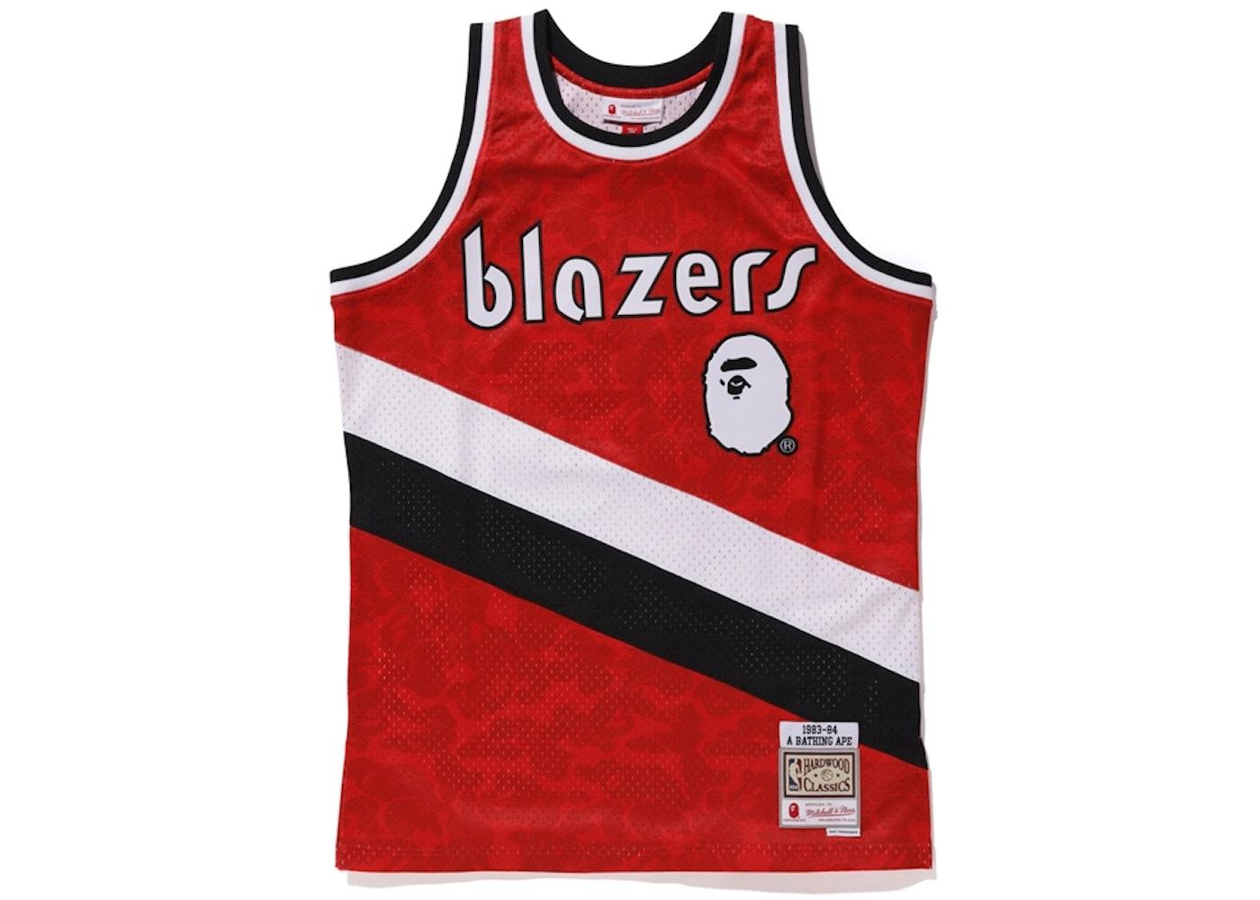 new style aca74 168e9 BAPE x Mitchell & Ness Blazers ABC Basketball Swingman Jersey Burgundy