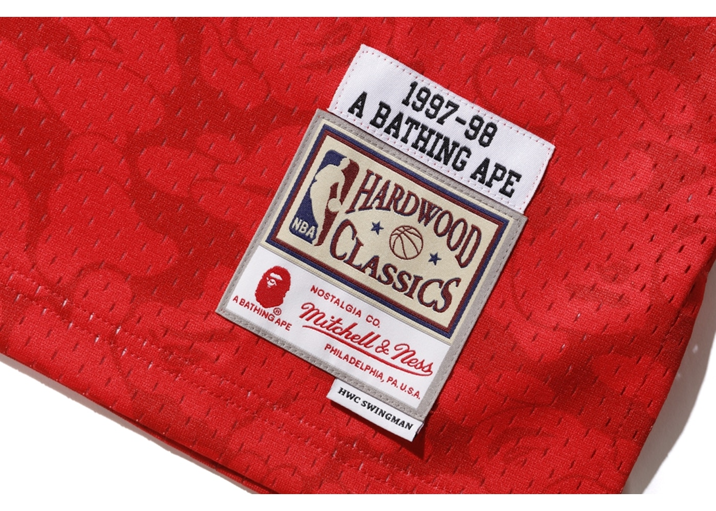 633f1943193 BAPE x Mitchell & Ness Bulls ABC Basketball Swingman Jersey Red - FW18