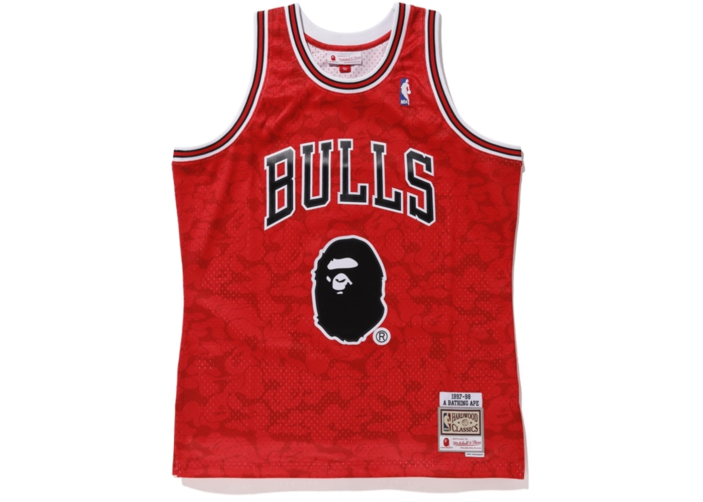515df325efe BAPE x Mitchell & Ness Bulls ABC Basketball Swingman Jersey Red