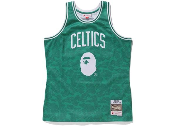 b4f6be0d13f Bape x Mitchell   Ness Celtics ABC Basketball Swingman Jersey Green